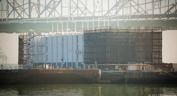 This large structure, which is likely being built by Google, could be a floating data center. It is located on a barge just off Treasure Island, between San Francisco and Oakland. (Credit: James Martin/CNET)